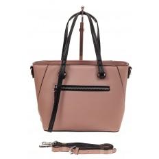 На фото 2 - Небольшая сумка-шоппер из натуральной кожи, цвет пудра