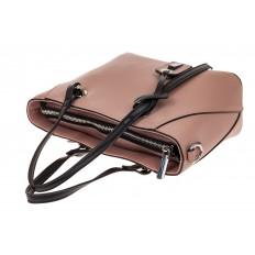 На фото 3 - Небольшая сумка-шоппер из натуральной кожи, цвет пудра