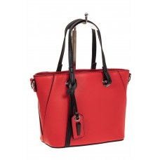 На фото 1 - Небольшая сумка-шоппер из натуральной кожи, цвет красный