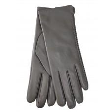 На фото 1 - Женские перчатки из натуральной кожи, цвет светло серый