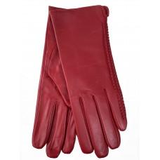 На фото 1 - Женские перчатки из натуральной кожи, цвет красный