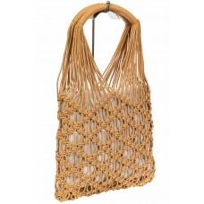 На фото 1 - Женская плетеная сумка-авоська с удобными ручками, цвет бежевый