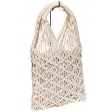 На фото 1 - Женская плетеная сумка-авоська с удобными ручками, цвет молочный