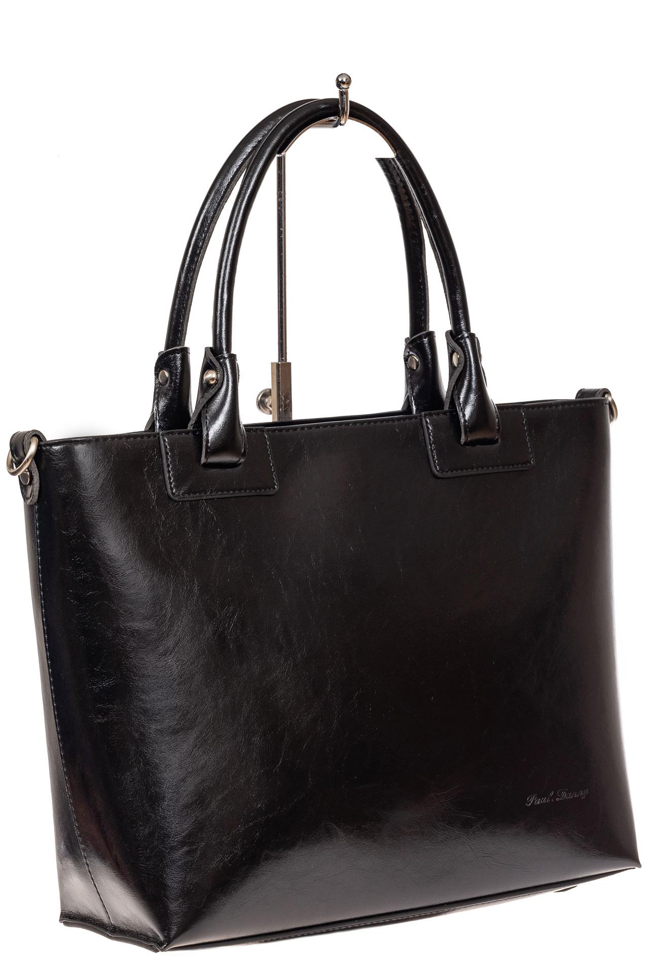 На фото 1 - Кожаная сумка-тоут, цвет чёрный