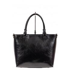 На фото 2 - Кожаная сумка-тоут, цвет чёрный