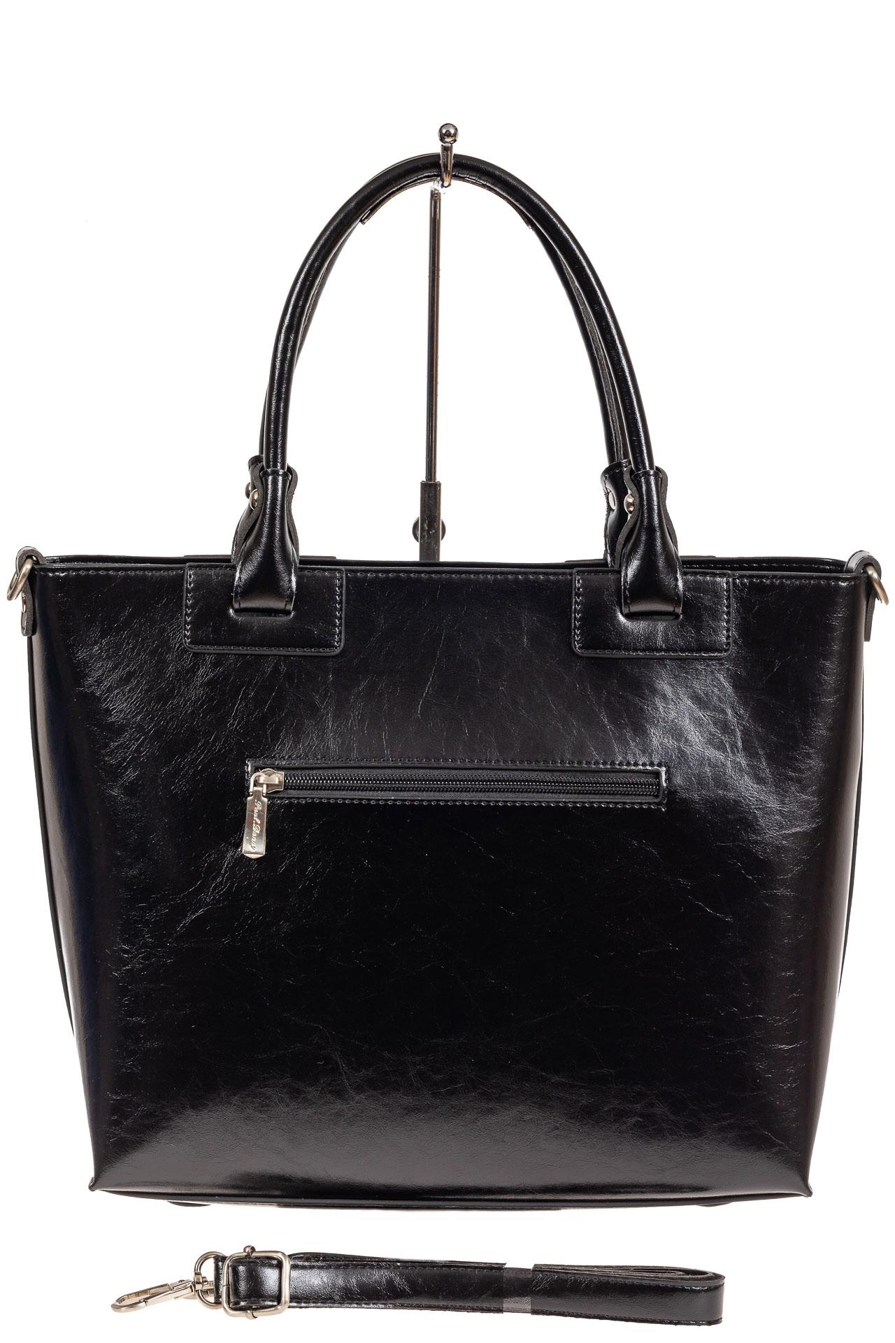 На фото 3 - Кожаная сумка-тоут, цвет чёрный