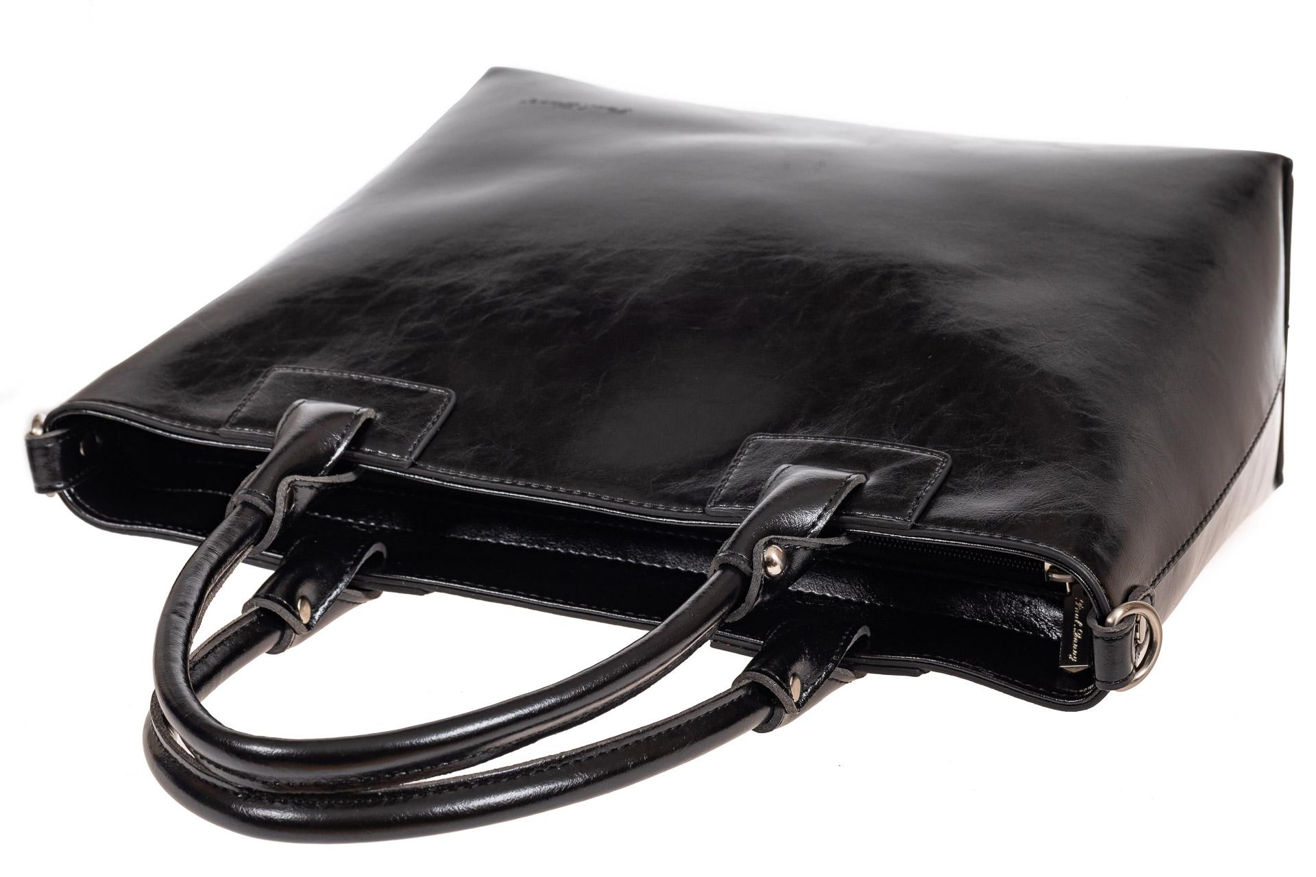 На фото 4 - Кожаная сумка-тоут, цвет чёрный