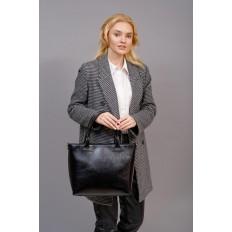 На фото 5 - Кожаная сумка-тоут, цвет чёрный