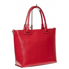 На фото 1 - Кожаная сумка-тоут, цвет красный