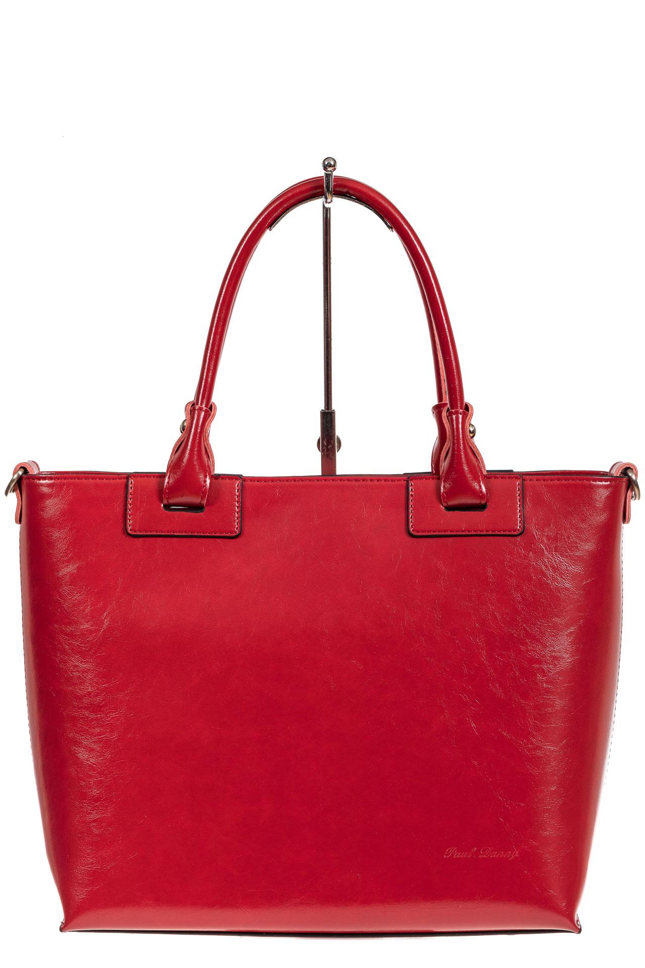 На фото 2 - Кожаная сумка-тоут, цвет красный