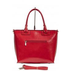 На фото 3 - Кожаная сумка-тоут, цвет красный