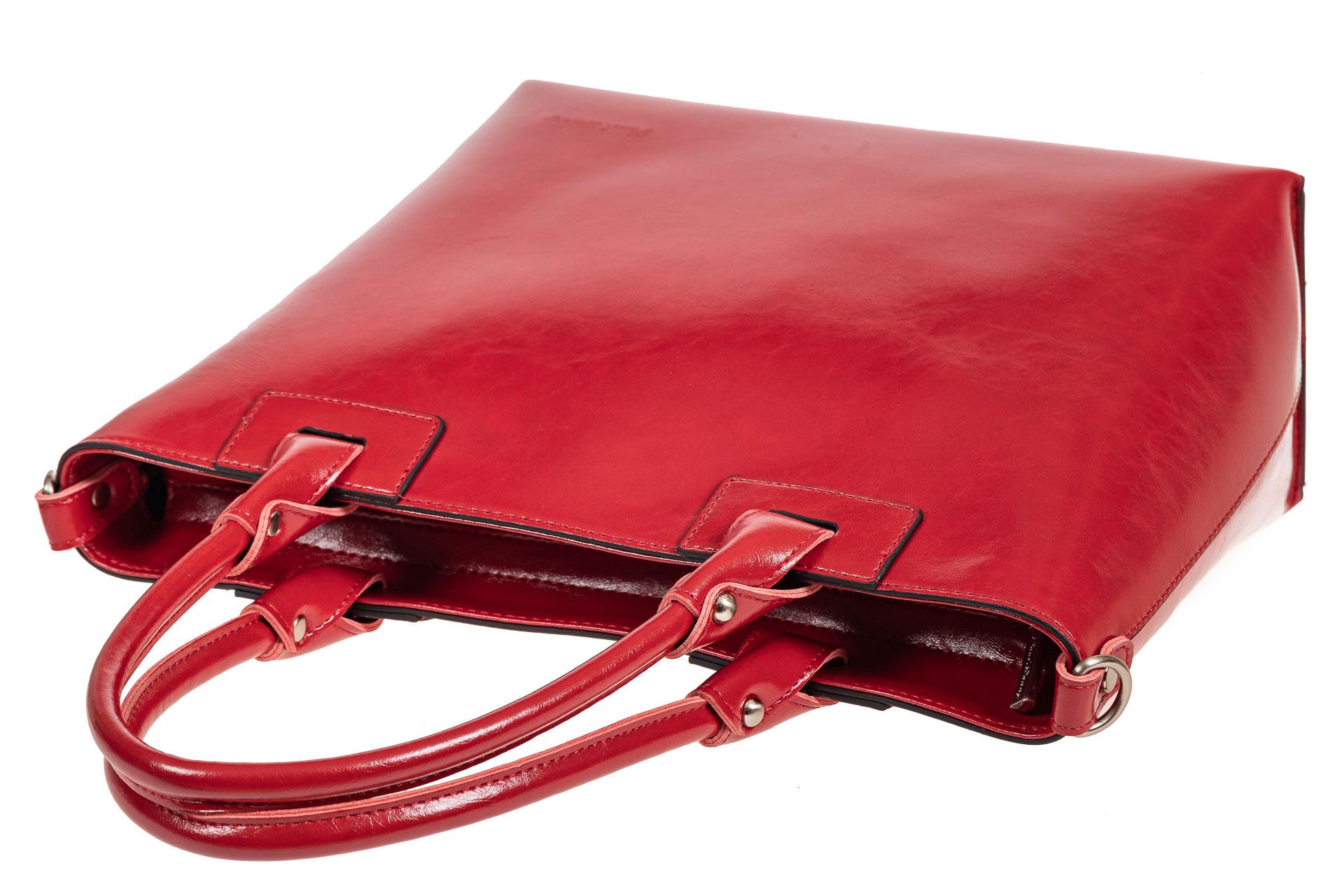 На фото 4 - Кожаная сумка-тоут, цвет красный