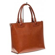На фото 1 - Кожаная сумка-тоут, цвет рыжий