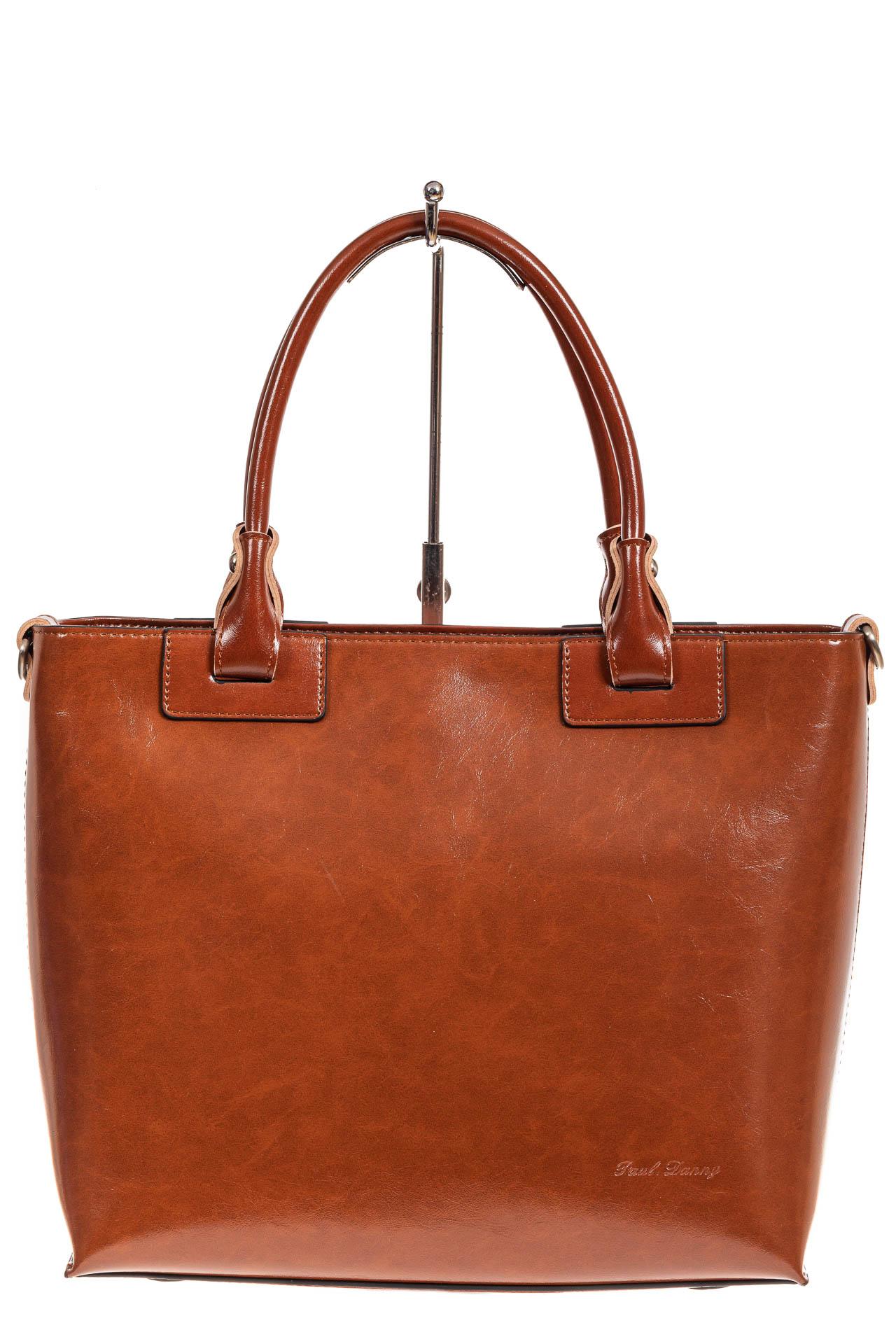 На фото 2 - Кожаная сумка-тоут, цвет рыжий