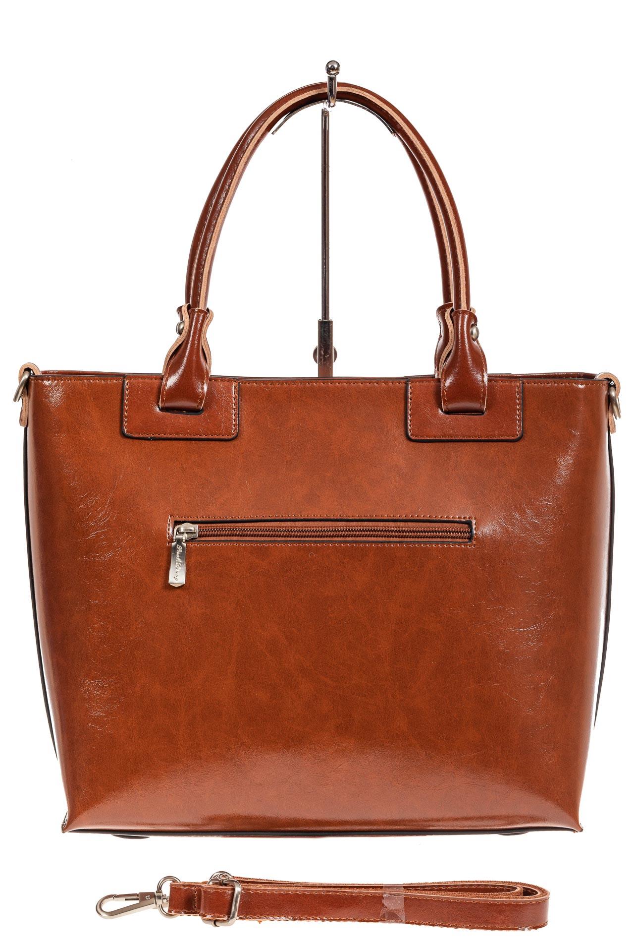 На фото 3 - Кожаная сумка-тоут, цвет рыжий