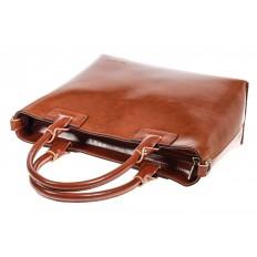 На фото 4 - Кожаная сумка-тоут, цвет рыжий