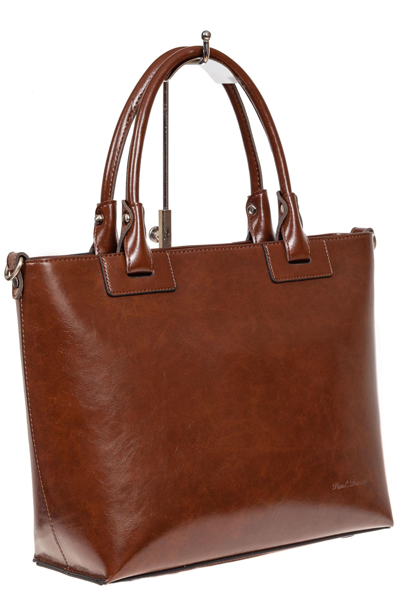 На фото 1 - Кожаная сумка-тоут, цвет коричневый