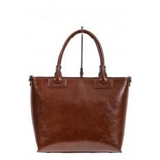 На фото 2 - Кожаная сумка-тоут, цвет коричневый