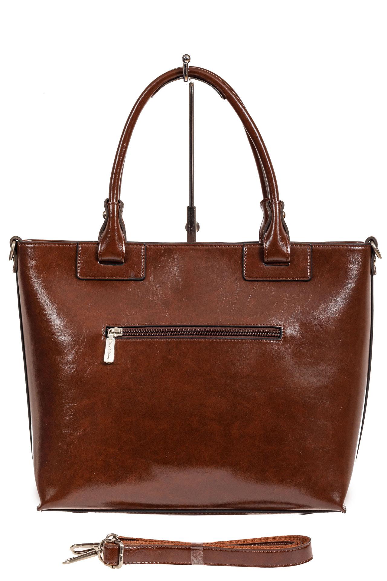 На фото 3 - Кожаная сумка-тоут, цвет коричневый