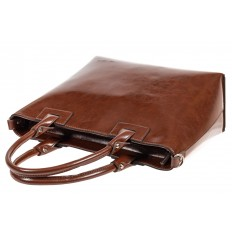 На фото 4 - Кожаная сумка-тоут, цвет коричневый