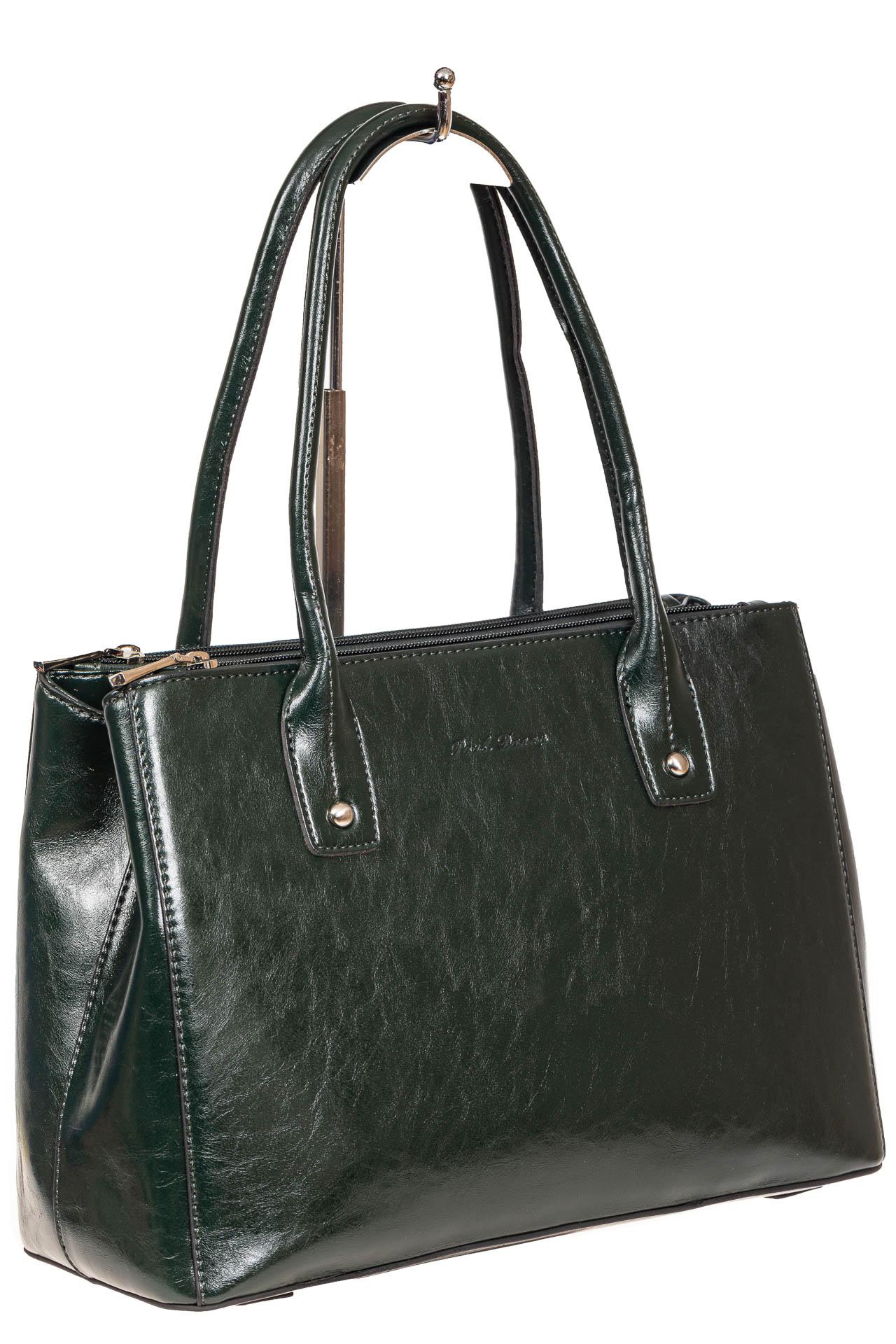 На фото 1 - Женский кожаный тоут, цвет тёмно-зелёный