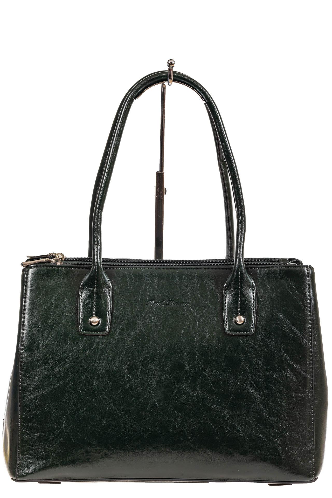 На фото 2 - Женский кожаный тоут, цвет тёмно-зелёный