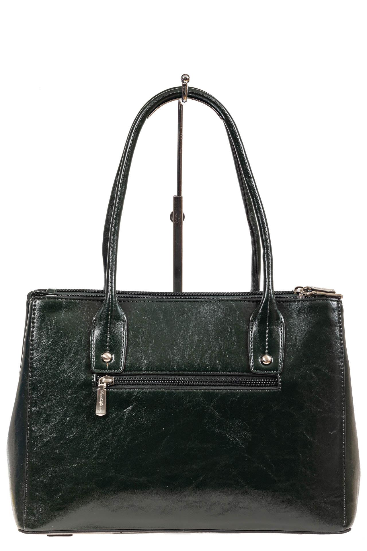 На фото 3 - Женский кожаный тоут, цвет тёмно-зелёный