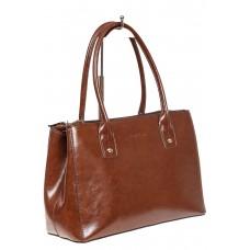 На фото 1 - Женский кожаный тоут, цвет коричневый