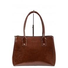 На фото 2 - Женский кожаный тоут, цвет коричневый