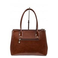 На фото 3 - Женский кожаный тоут, цвет коричневый