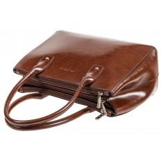 На фото 4 - Женский кожаный тоут, цвет коричневый
