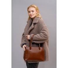 На фото 5 - Женский кожаный тоут, цвет коричневый