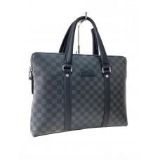 На фото 1 - Мужской портфель из искусственной кожи , серо-черный  цвет