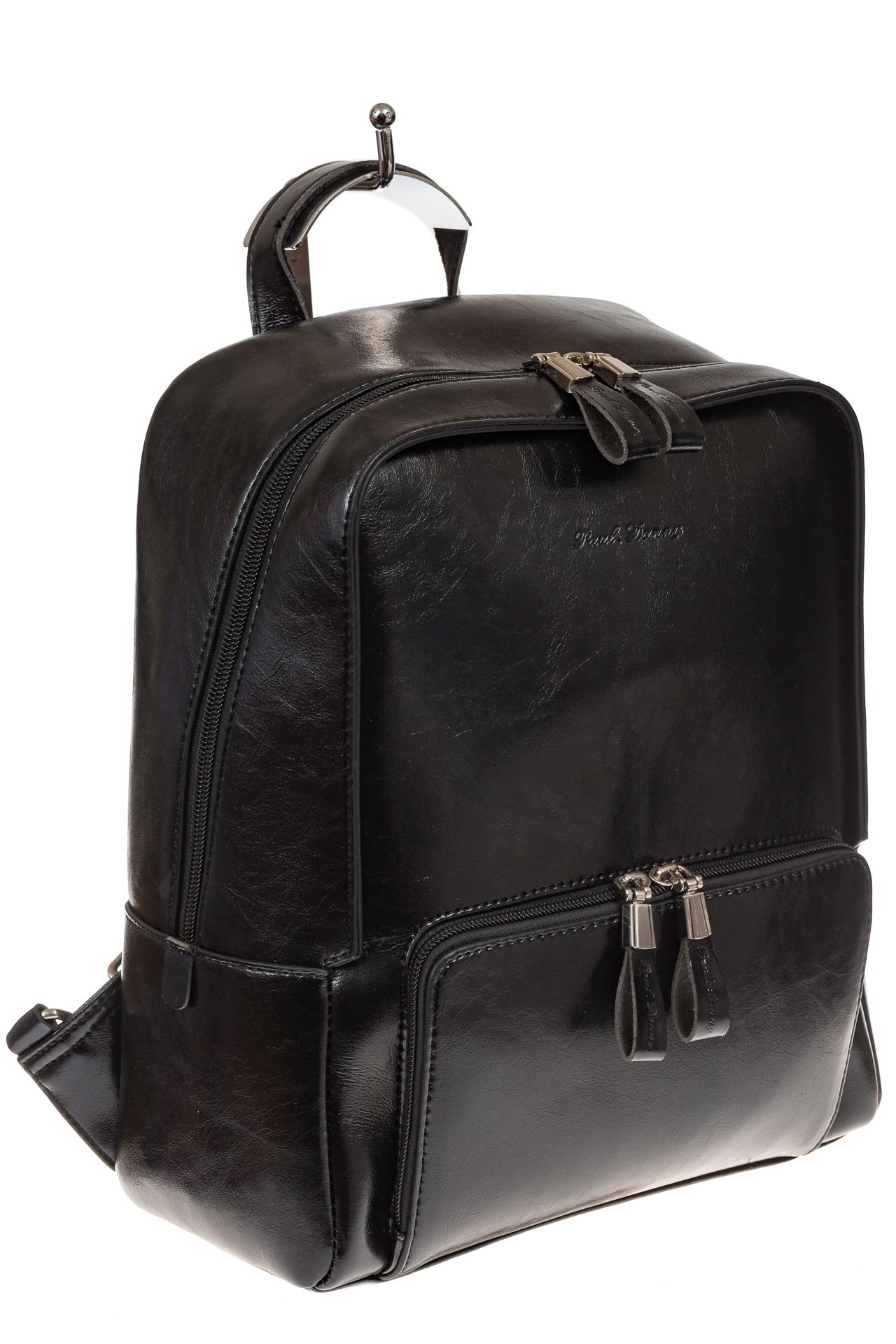 На фото 1 - Черный рюкзак из натуральной кожи, модель для женщин