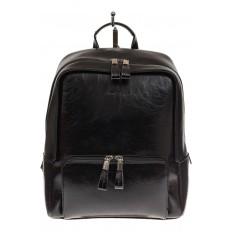 На фото 2 - Черный рюкзак из натуральной кожи, модель для женщин