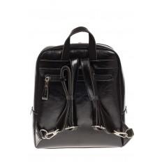 На фото 3 - Черный рюкзак из натуральной кожи, модель для женщин