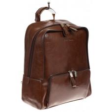 На фото 1 - Коричневый рюкзак из натуральной кожи, модель для женщин