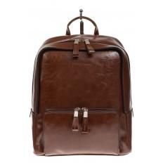 На фото 2 - Коричневый рюкзак из натуральной кожи, модель для женщин