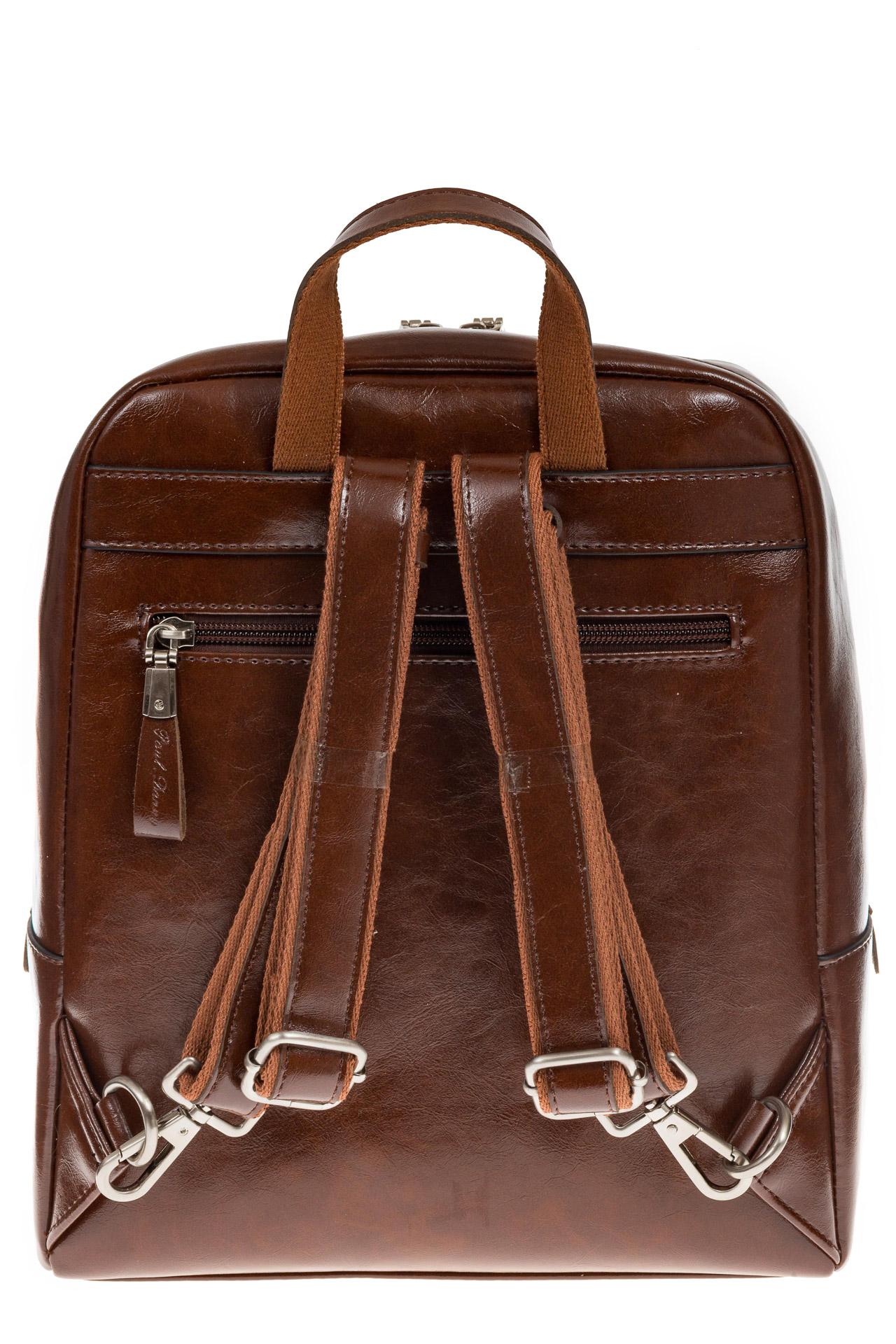 На фото 3 - Коричневый рюкзак из натуральной кожи, модель для женщин