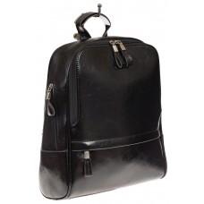 На фото 1 - Рюкзак из натуральной кожи черного цвета