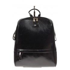 На фото 2 - Рюкзак из натуральной кожи черного цвета