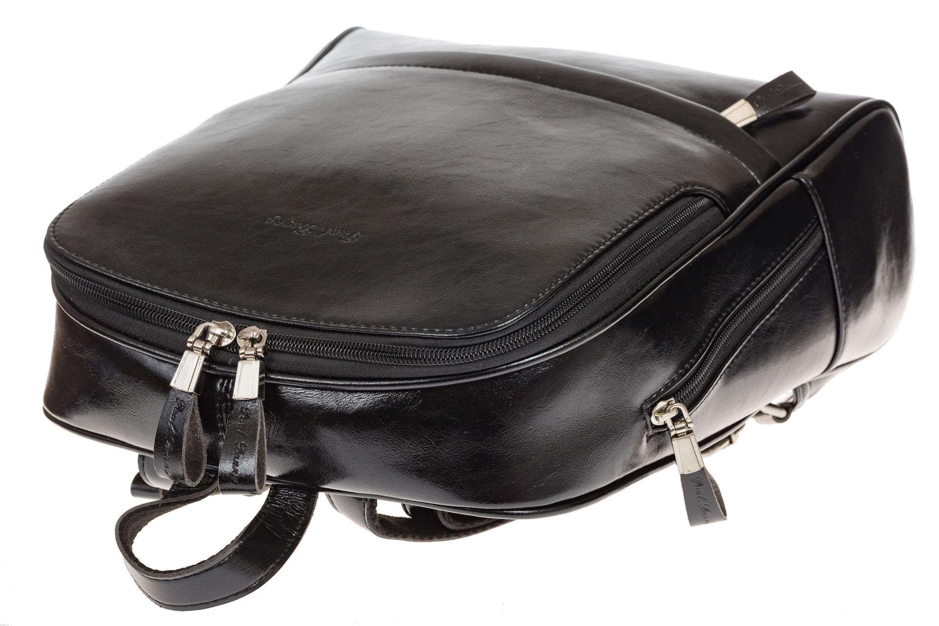 На фото 4 - Рюкзак из натуральной кожи черного цвета