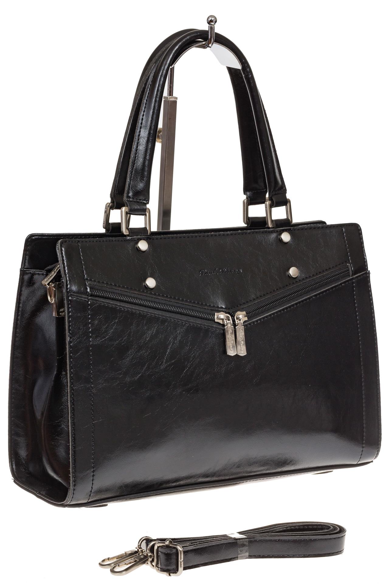 На фото 1 - Черная женская сумка из натуральной кожи для офиса