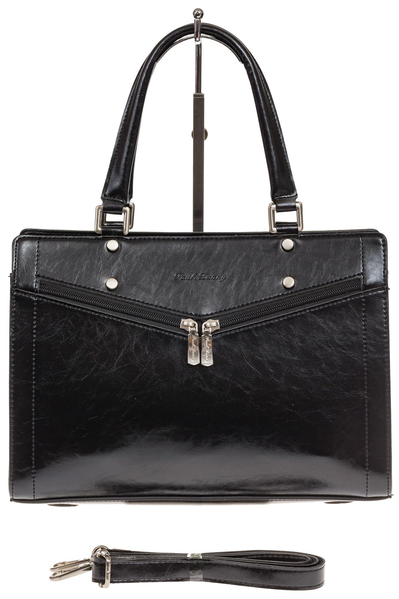 На фото 2 - Черная женская сумка из натуральной кожи для офиса