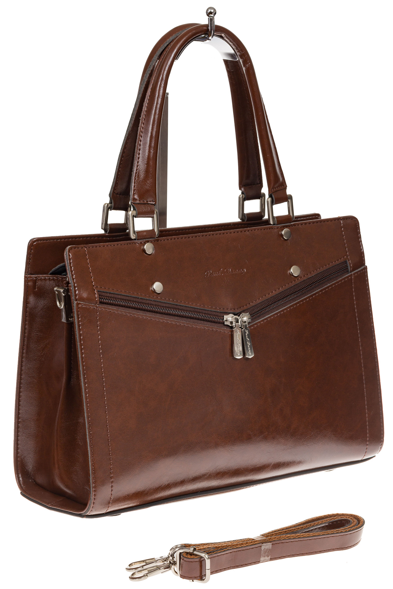 На фото 1 - Коричневая женская сумка из натуральной кожи для офиса