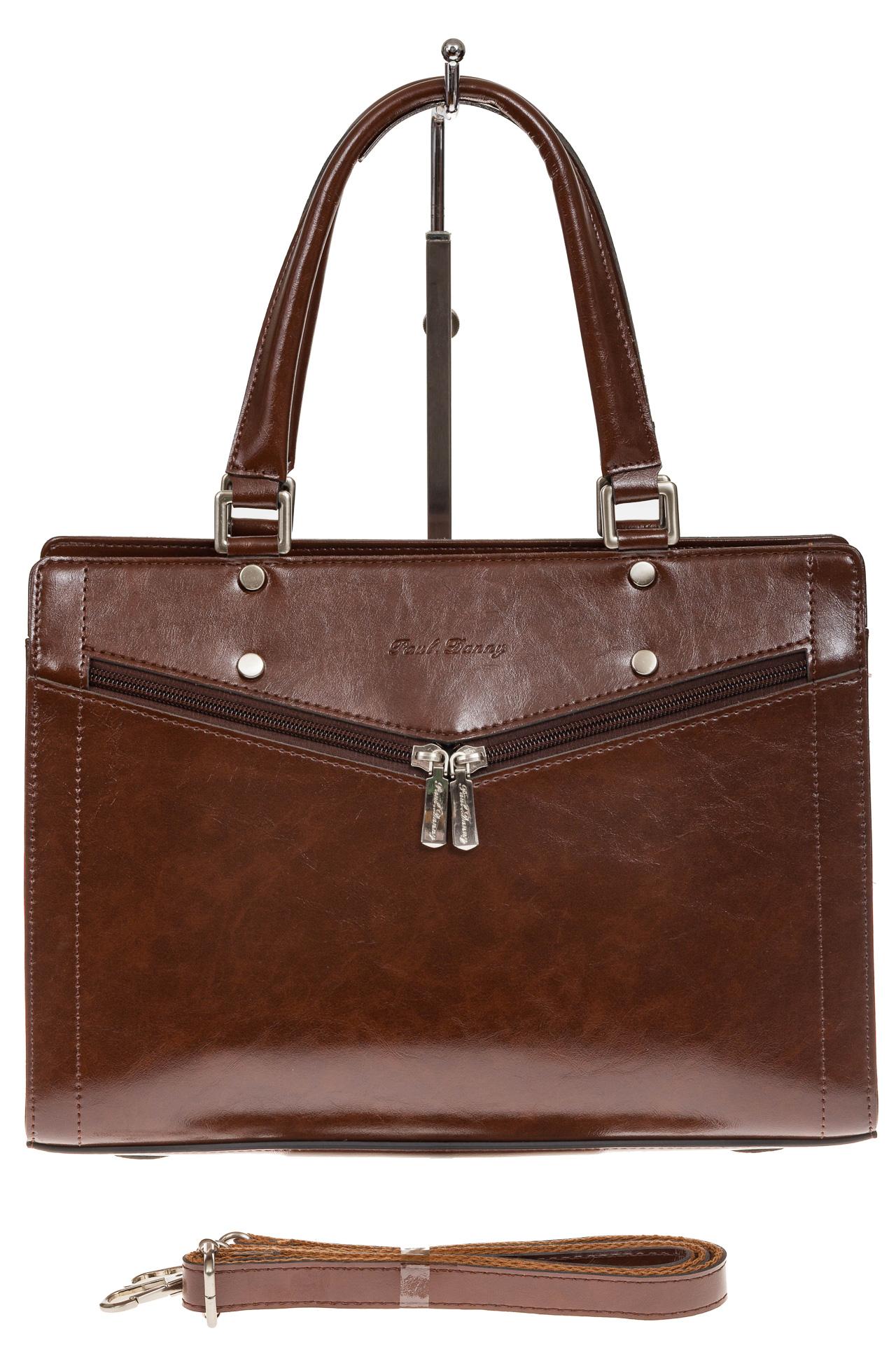 На фото 2 - Коричневая женская сумка из натуральной кожи для офиса