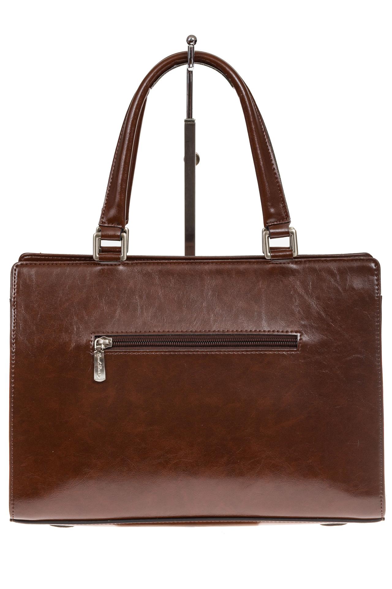 На фото 3 - Коричневая женская сумка из натуральной кожи для офиса