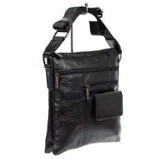 На фото 1 - Мужская кожаная сумка с множеством карманов, цвет черный