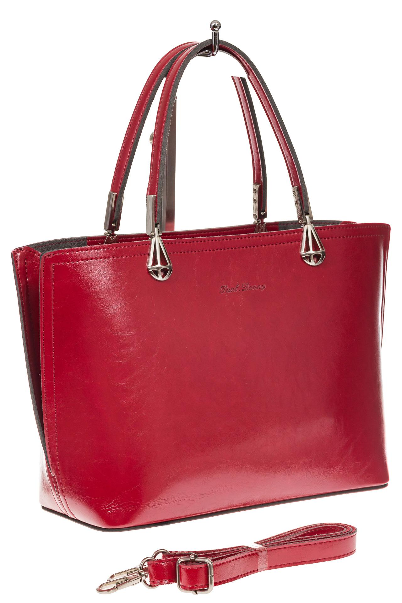 На фото 1 - Женская сумка из натуральной кожи, цвет красный