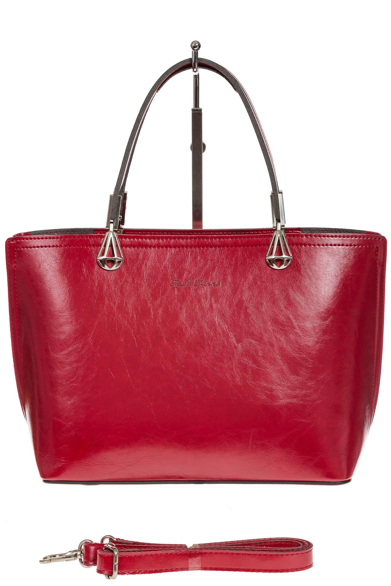 На фото 2 - Женская сумка из натуральной кожи, цвет красный
